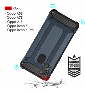 Oppo A53 A73 A15 Reno 5 Reno 5 Pro Rugged Armor Protection Case Cover Hard Casing Shockproof Housing
