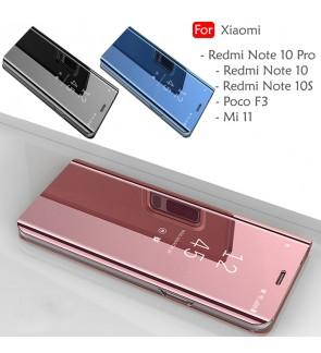 Xiaomi Redmi Note 10 Pro Note 10S 10 Poco F3 Mi 11 Delight Mirror Flip Case Cover Stand Pouch Leather Casing Housing