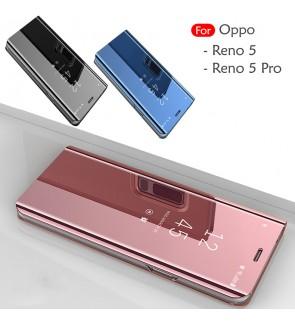 Oppo Reno 5 Reno 5 Pro Delight Mirror Flip Case Cover Stand Pouch Leather Casing Housing