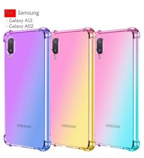 Samsung Galaxy A12 A02 Anti-Shock Case Cover Rainbow Aurora TPU Soft Casing Housing