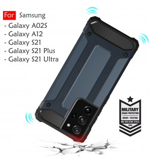 Samsung Galaxy A02S A12 S21 S21 Plus S21 Ultra S21+ Rugged Armor Protection Case Cover Hard  Casing Shockproof Housing