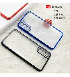 Samsung Galaxy S21 Plus S21 Ultra S21+ Electroplate Ver 4 Transparent Case Cover TPU Soft Casing Phone Mobile Housing