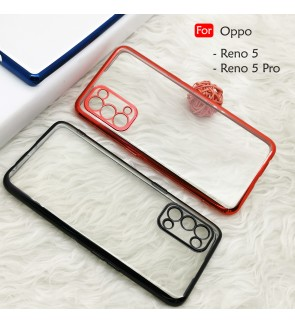 Oppo Reno 5 Reno 5 Pro Reno5 Electroplate Ver 4 Transparent Case Cover TPU Soft Casing Camera Lens Phone Mobile Housing