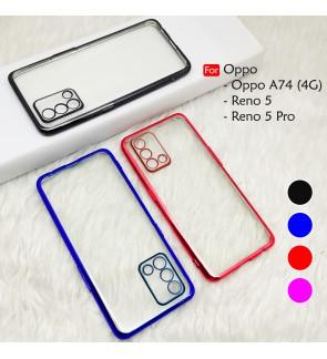 Oppo Reno 5 Reno 5 Pro Reno5 A74 4G Electroplate Ver 4 Transparent Case Cover TPU Soft Casing Camera Lens Phone Housing