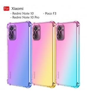 Xiaomi Redmi Note 10 Note 10 Pro Poco F3 Rainbow Shockproof Case Cover Aurora TPU Soft Casing Mobile Phone Housing