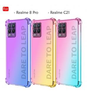 Realme 8 Pro Realme C21 Anti-Shock Case Cover Rainbow Aurora TPU Soft Casing Mobile Phone Housing