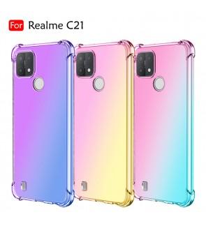 Realme C21 Anti-Shock Case Cover Rainbow Aurora TPU Soft Casing Mobile Phone Housing