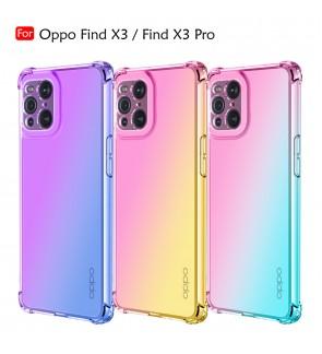 Oppo Find X3 Find X3 Pro Anti-Shock Case Cover Rainbow Aurora TPU Soft Casing Mobile Phone Housing