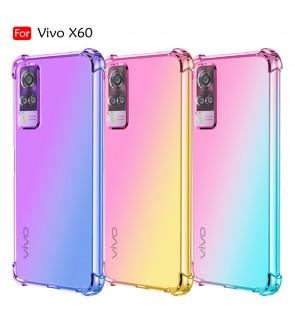 Vivo X60 Anti-Shock Case Cover Rainbow Aurora TPU Soft Casing Mobile Phone Housing