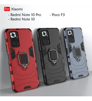 Xiaomi Redmi Note 10 Pro Note 10 Poco F3 Car Holder Back Case Cover Shockproof Casing Phone Mobile Housing Metal Iring