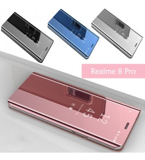 Realme 8 Pro Delight Mirror Flip Case Cover Stand Pouch Leather Casing Phone Mobile Housing