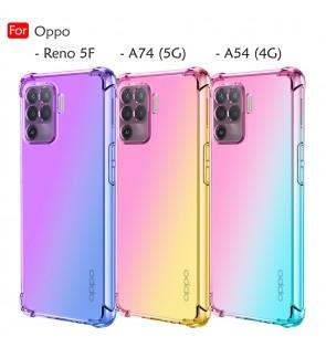Oppo Reno 5F A74 5G A54 4G Rainbow Aurora Anti-Shock Case Cover Mobile Phone TPU Soft Casing Housing