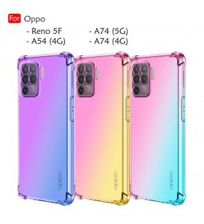 Oppo Reno 5F A74 5G A74 4G A54 4G Rainbow Aurora Anti-Shock Case Cover Mobile Phone TPU Soft Casing Housing