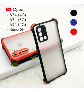 Oppo Reno 5F A74 5G A54 4G A74 4G Phantom Shockproof Protection Case Housing Silicone Hard Back Cover Phone Casing
