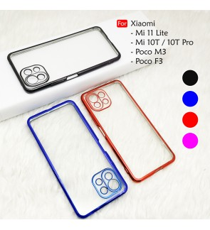 Xiaomi Mi 11 Lite Mi 10T Pro Poco M3 F3 Electroplate Ver 4 Crystal Transparent Case Cover TPU Soft Camera Lens Casing