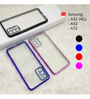 Samsung Galaxy A32 4G S52 A72 Electroplate Ver 4 Crystal Transparent Case Cover TPU Soft Camera Lens Protection Casing