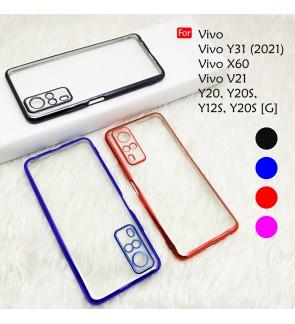 Vivo Y31 2021 X60 V21 Y20 Y20S Y20S [G] Y12S Electroplate Ver 4 Crystal Transparent Case Cover TPU Soft Camera Casing