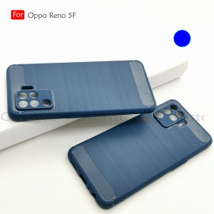 Carristo Oppo Reno 5F Back Case Cover Carbon Fiber Brushed TPU Silicone Soft Casing Phone Mobile Housing