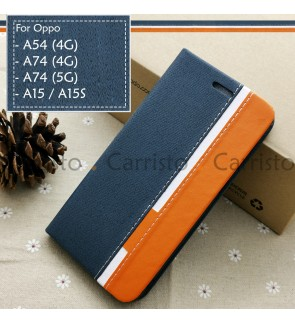 Oppo A15 A15S A54 4G A74 5G A74 4G Horizon Luxury Flip Case Card Slot Bag Cover Stand Pouch Leather Casing Phone Housing