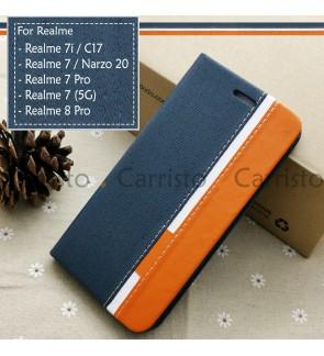 Realme 7i 7 Pro Realme 8 Pro Narzo 20 Pro C17 Horizon Luxury Flip Case Card Bag Cover Pouch Leather Casing Phone Housing