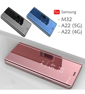 Samsung Galaxy M32 A22 4G A22 5G Delight Mirror Flip Case Cover Stand Pouch Leather Casing Phone Mobile Housing