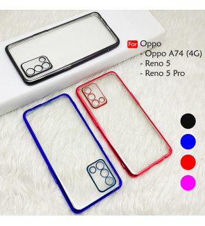 Oppo A93 5G Electroplate Ver 4 Crystal Clear Transparent Case Cover Thin TPU Soft Casing Protection Phone Mobile Housing