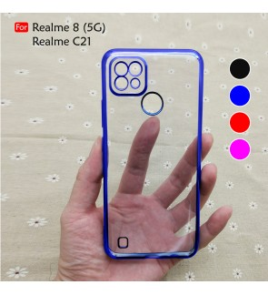 Realme 8 5G C21 Electroplate Ver 4 Crystal Clear Transparent Case Cover Thin TPU Soft Casing Camera Phone Mobile Housing