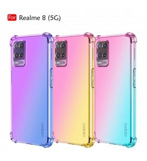 Realme 8 5G Anti-Shock Case Cover Rainbow Aurora TPU Soft Casing Mobile Phone Housing