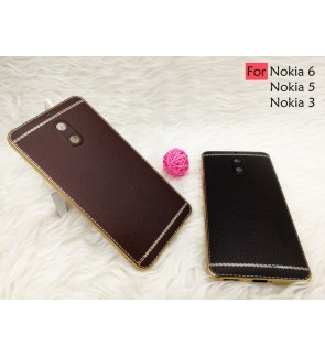 Nokia 3 Nokia 5 Nokia 6 Plating Leather TPU Soft Case Cover Casing