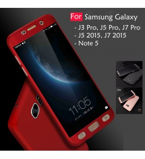 Samsung Galaxy J3 J5 J7 Pro 2015 Note 5 360 Full Protect Cover Case Temp Glass