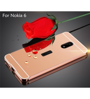Nokia 6 Mirror Metal Bumper Cover Case Casing
