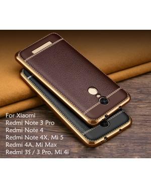 Plating Leather Case for Xiaomi Redmi Note 3, Redmi Note 4X