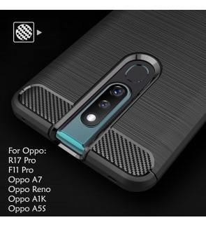 Oppo Reno A1K A5S F11 Pro R17 Pro Oppo A7 Back Case Cover Carbon Fiber Brushed TPU Silicone Soft Casing Phone Housing
