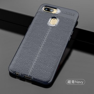 Oppo A7 Oppo R17 Pro A5S Dermatoglyph Leather TPU Soft Case Cover Casing Housing