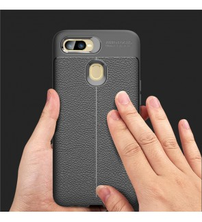 Oppo A7 Oppo R17 Pro TPU Soft Case Cover Casing Dermatoglyph Leather