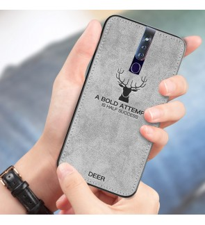 Oppo F11 Pro Reno 10X Zoom A7 Oppo R17 Pro A50S Fabric Soft Case Cover Casing Vintage Deer Canvas