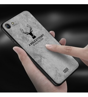Vivo Y91 Y91i Y95 Y81 Y81i Canvas Fabric Soft Case Cover Casing Vintage Deer