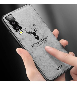 Samsung Galaxy A7 2018 A9 2018 J7 Plus Fabric Case Cover Casing Vintage Deer