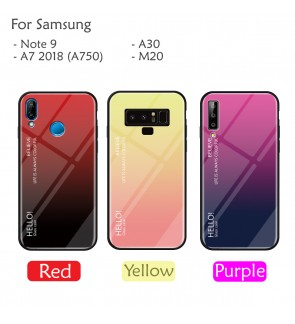Samsung Galaxy A7 2018 Note 9 M20 A30 Case Cover Casing Aurora Tempered Glass