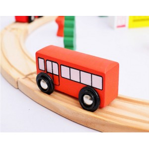 Wooden Toys Toy Train Set With Train Vehicles Track Perfect Birthday Gift 25 pcs