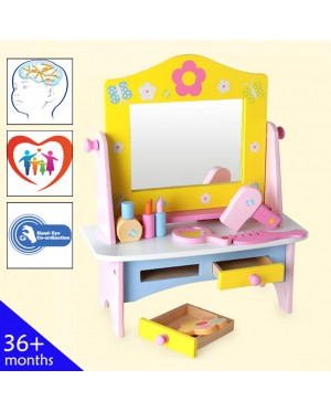 Wooden Toys Toy Block Dressing Table Dresser Accessories Perfect Birthday Gift