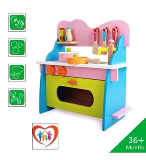 Wooden Toys Toy Kitchen Cooking Set Perfect Birthday Gift – Color Kitchen