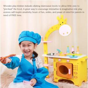 Wooden Toys Toy Kitchen Cooking Stove Set Perfect Birthday Gift Giraffe Kitchen
