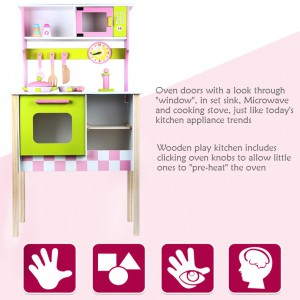 Wooden Toys Toy Kitchen Cooking Set Perfect Birthday Gift European Style Kitchen