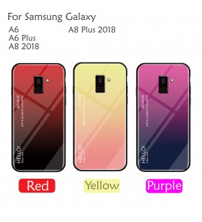 Samsung Galaxy A6 Plus  A8 2018 A8 Plus 2018 Case Cover Casing Tempered Aurora