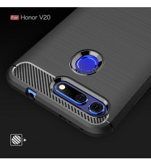 Huawei Honor V20 TPU Silicone Soft Case Cover Casing Carbon Fiber Brushed