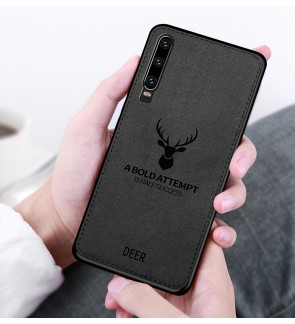 Huawei Nova 5T Nova 4E P30 Pro Y7 Pro 2019 Honor 20 Fabric Case Cover Casing Fabric Vintage Deer Housing