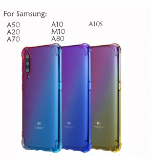 Samsung Galaxy A50 A20 A10 A70 A80 M10 A10S Casing Case Cover Air Bag Rainbow Housing