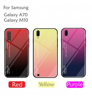 Samsung Galaxy A70  Galaxy M10 Case Cover Casing Tempered Glass Aurora