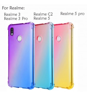 Realme 5 Realme 5 Pro 3 Realme 3 Pro Realme C2 Casing Case Cover Air Bag Anti Shock Rainbow Soft Back Housing